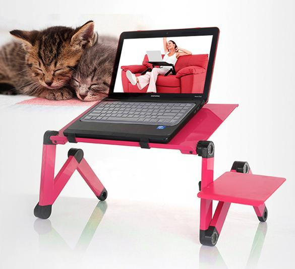 Adjustable folding laptop notebook pc desk table vented for Pc bed table