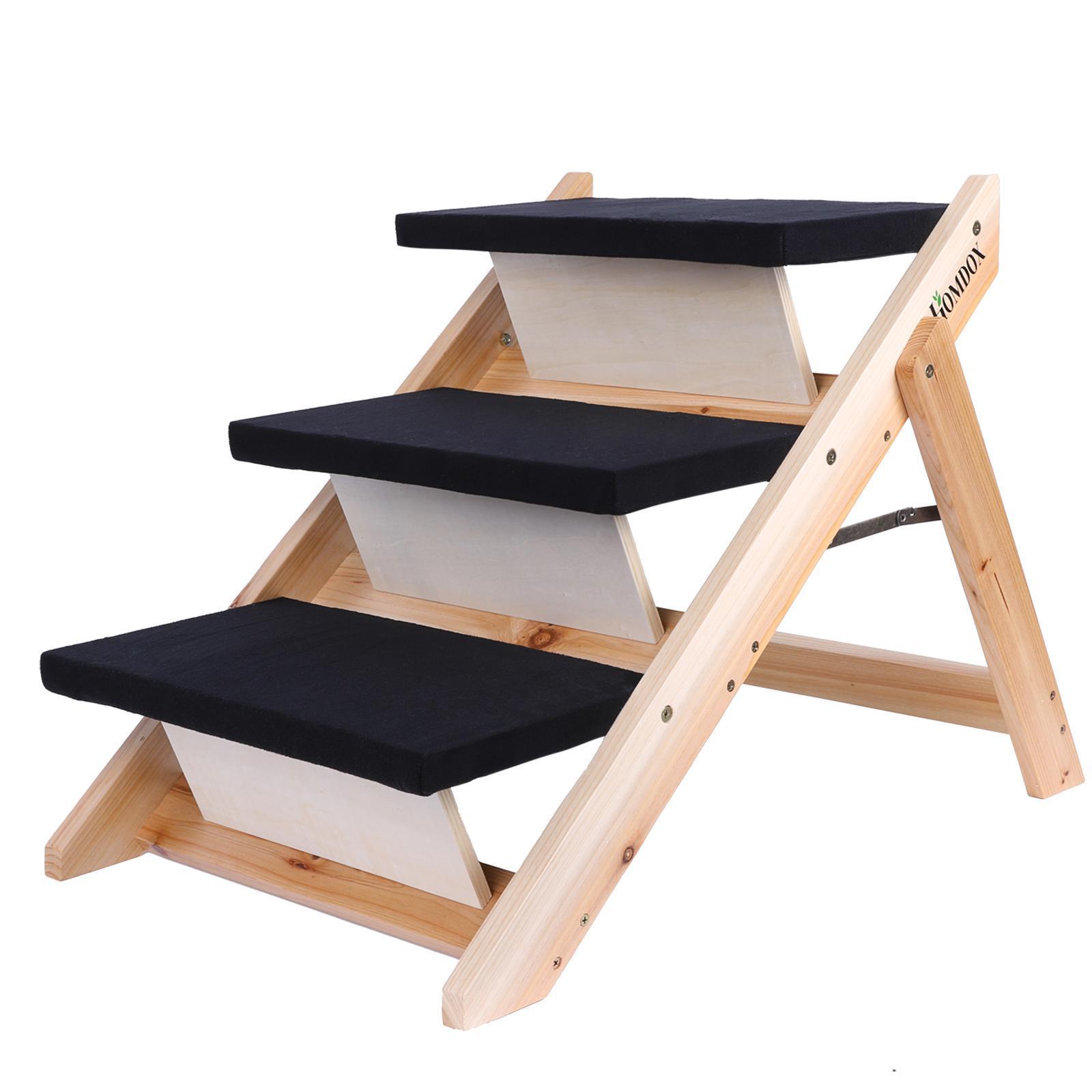 2016 Large Wooden Pet Ladder Stairs Dog Ramp Bed Steps Folding Portable Usa Ebay