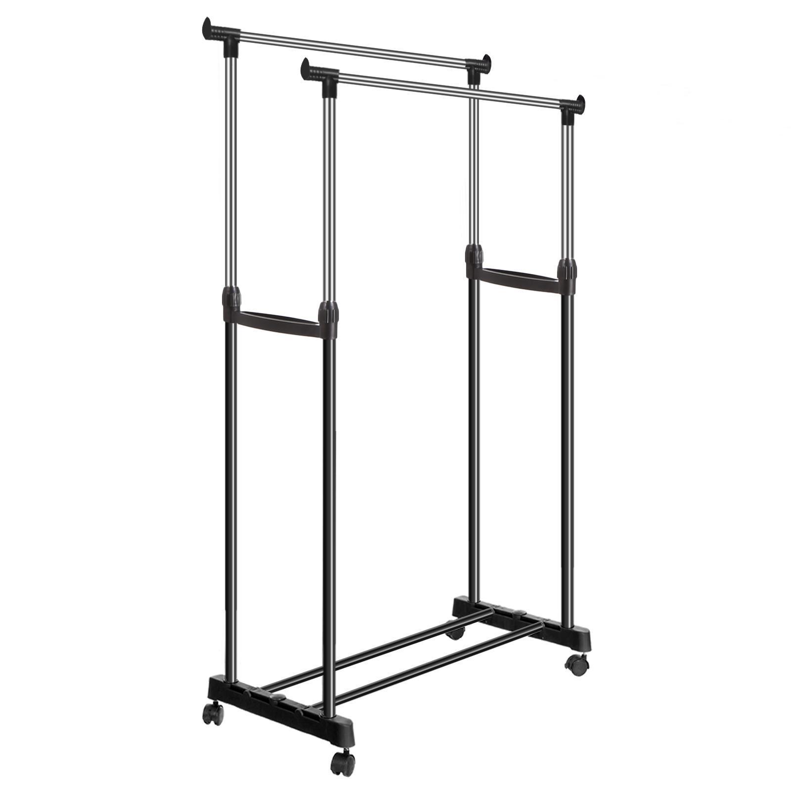60 Portable Handrail : Portable double rolling rail adjustable clothes garment